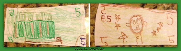 Here's his own five dollar bill that he made to trick his sister. He took her five dollar bill and left this in its place...so she would never know the difference!